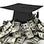 Pile of cash and mortar board